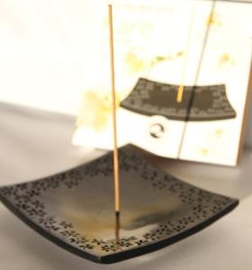 Incense Holder / Burner | Kare | Black | Natural Stone
