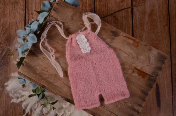 Peto angora corto con lazo y perlas rosa