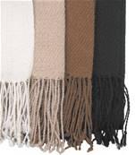 Echarpe en laine d'alpaga, 5 bandes Marron-bleu