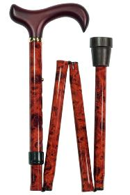 Burr Effect Folding Walking Cane - extra long 89 to 100cm